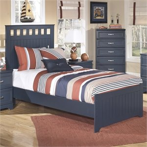 Leo Wood Panel Bed in Blue