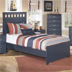 Ashley Leo Wood Twin Panel Bed in Blue