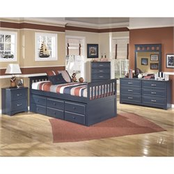 Ashley Leo 6 Piece Wood Twin Captain's Bedroom Set in Blue