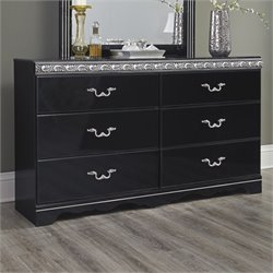 Ashley Constellations 6 Drawer Wood Double Dresser in Black