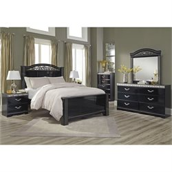 Ashley Constellations 5 Piece Wood Poster Panel Bedroom Set in Black