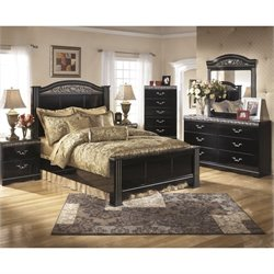 Ashley Constellations 6 Piece Wood Poster Panel Bedroom Set in Black