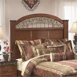 Ashley Fairbrooks Estates Wood Queen Poster Panel Headboard in Brown