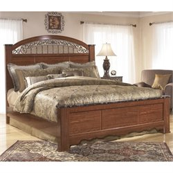 Ashley Fairbrooks Estates Wood King Poster Panel Bed in Brown