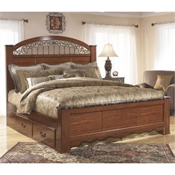 Fairbrooks Estates Wood Poster Panel Drawer Bed in Brown