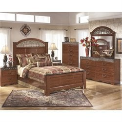 Ashley Fairbrooks Estates 6 Piece Queen Panel Bedroom Set in Brown