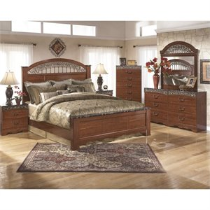 Ashley Fairbrooks Estates 6 Piece King Panel Bedroom Set in Brown