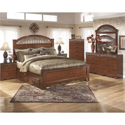 Ashley Fairbrooks Estates 6 Piece King Drawer Bedroom Set in Brown