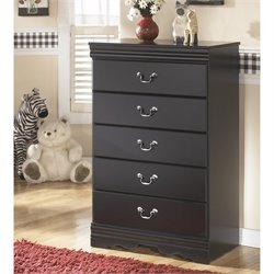 Ashley Huey Vineyards 5 Drawer Wood Chest in Black