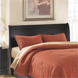 Ashley Huey Vineyards Wood Sleigh Headboard in Black - Twin