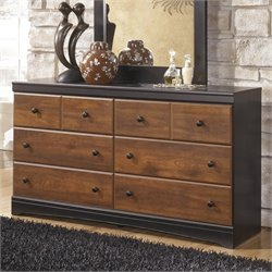 Ashley Aimwell 6 Drawer Wood Double Dresser in Brown