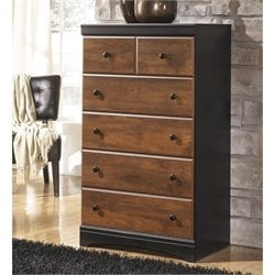 Ashley Aimwell 5 Drawer Wood Chest in Brown