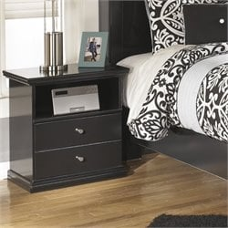 Ashley Maribel 1 Drawer Wood Nightstand in Black