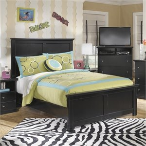 Ashley Maribel Wood Panel Bed in Black