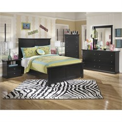 Ashley Maribel Wood Panel Bedroom Set in Black