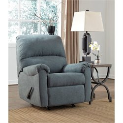 Ashley Zeth Fabric Rocker Recliner in Denim