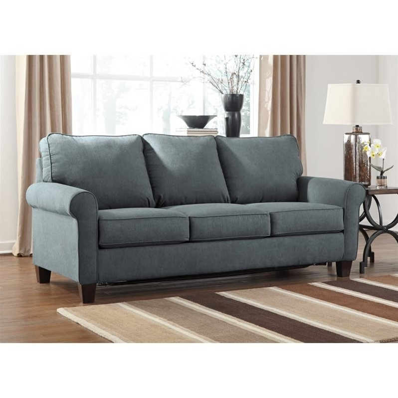 Ashley Zeth Fabric Queen Size Sleeper Sofa In Denim