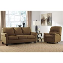 Ashley Zeth 2 Piece Full Sleeper Sofa Set and Recliner in Basil