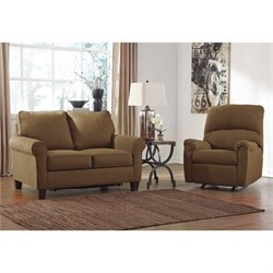 Ashley Zeth 2 Piece Twin Sleeper Sofa Set and Recliner in Basil