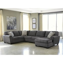 Ashley Sorenton 3 Piece Fabric Chaise Sectional in Slate