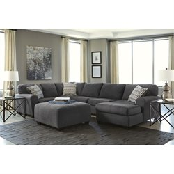 Ashley Sorenton 4 Piece Chaise Sectional with Ottoman in Slate
