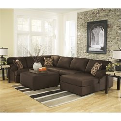 Ashley Cowan 4 Piece Fabric Right Chaise Sectional and Ottoman in Cafe