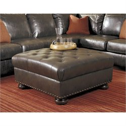 Ashley Nesbit Leather Oversized Accent Ottoman in Antique
