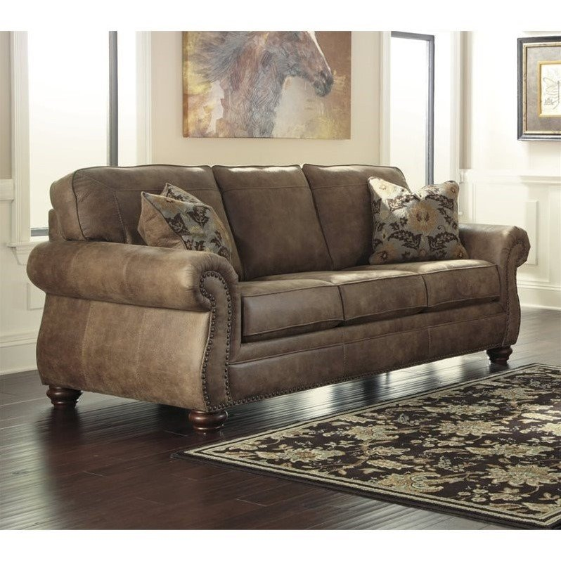 Ashley Larkinhurst Faux Leather Sofa In Earth 3190138