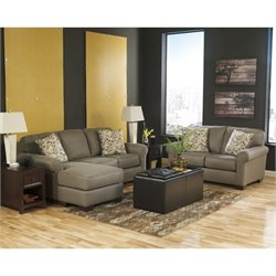 Ashley Danely 3 Piece Chaise Sofa Set with Ottoman in Dusk