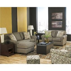 Ashley Danely 4 Piece Chaise Sofa Set with Ottoman in Dusk