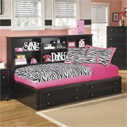 Ashley Jaidyn Wood Twin Bookcase Mates Bed in Black