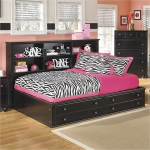 Jaidyn Wood Bookcase Mates Bed in Black