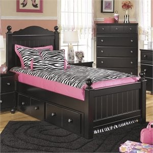 Jaidyn Wood Poster Panel Drawer Bed in Black
