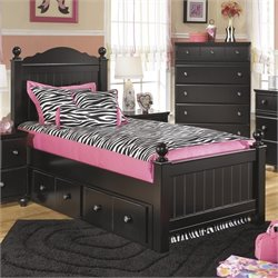 Ashley Jaidyn Wood Twin Poster Panel Drawer Bed in Black