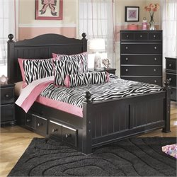 Ashley Jaidyn Wood Full Poster Panel Drawer Bed in Black