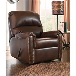 Ashley Lottie Leather Rocker Recliner in Chocolate