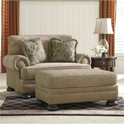 Ashley Keereel Fabric Accent Chair and a Half with Ottoman in Sand