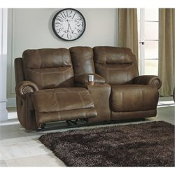 Ashley Austere Power Reclining Faux Leather Console Loveseat in Brown