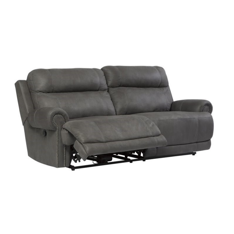 Ashley Furniture Austere Faux Leather Reclining Sofa In Gray 3840181