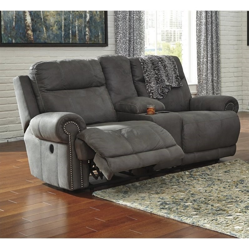 Ashley Austere Reclining Faux Leather Console Power Loveseat In Gray 3840196
