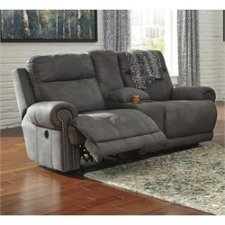 Ashley Austere Reclining Faux Leather Console Power Loveseat in Gray