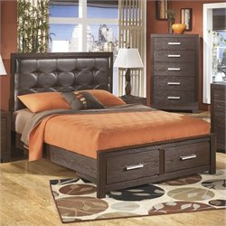 Ashley Aleydis Upholstered Queen Panel Drawer Bed in Brown