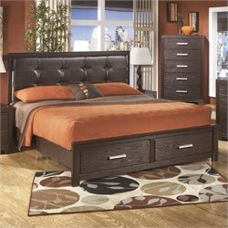 Ashley Aleydis Upholstered King Panel Drawer Bed in Brown