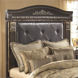 Ashley Coal Creek Upholstered Queen Panel Headboard in Dark Brown
