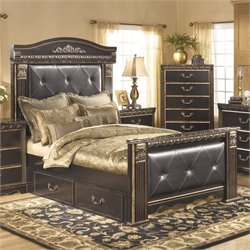 Ashley Coal Creek Upholstered Queen Panel Drawer Bed in Dark Brown