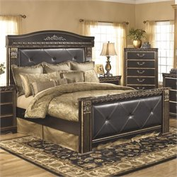 Ashley Coal Creek Upholstered King Panel Bed in Dark Brown