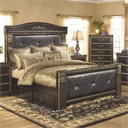 Ashley Coal Creek Upholstered King Panel Drawer Bed in Dark Brown