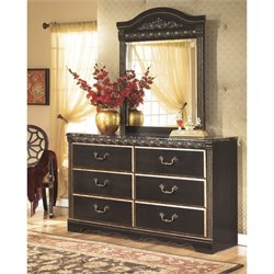 Ashley Coal Creek 2 Piece Wood Dresser Set in Dark Brown