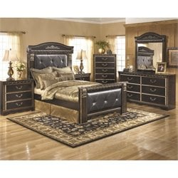 Ashley Coal Creek 6 Piece Queen Panel Bedroom Set in Dark Brown