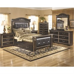 Coal Creek 6 Piece Drawer Bedroom Set in Dark Brown